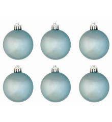 Χριστουγεννιάτικες Μπάλες Γαλάζιες Περλέ - Σετ 6 τεμ. (6cm)