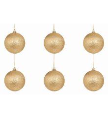 Χριστουγεννιάτικες Μπάλες Χρυσές, με Στρας - Σετ 6 τεμ. (6cm)