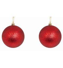 Χριστουγεννιάτικες Μπάλες Κόκκινες, με Στρας - Σετ 2 τεμ. (10cm)