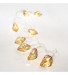 10 Λευκά Θερμά Φωτάκια LED Μπαταρίας, με Μεταλλικά Φύλλα (1,5m)