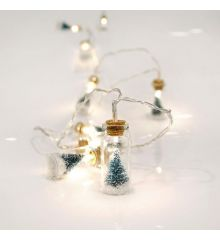 10 Λευκά Θερμά Φωτάκια LED Μπαταρίας, με Γυάλινα Βαζάκια και Δεντράκια στο Εσωτερικό (1,5m)