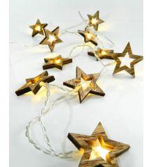 10 Λευκά Θερμά Φωτάκια LED Μπαταρίας, με Ξύλινα Αστεράκια (1,5m)