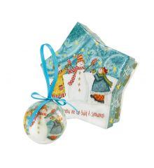 Χριστουγεννιάτικες Παιδικές Μπάλες σε Κουτί Δώρου Αστέρι - Σετ 6 τεμ. (4cm)