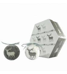 Χριστουγεννιάτικες Μπάλες Γκρι, με Τάρανδους σε Κουτί Δώρου - Σετ 7 τεμ. (8cm)
