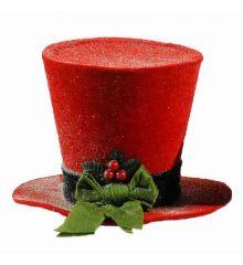 Χριστουγεννιάτικο Τσόχινο Καπέλο Χιονισμένο, Κόκκινο με Πράσινο Φιόγκο και Γκι (15cm)