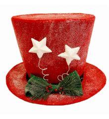 Χριστουγεννιάτικο Κρεμαστό Τσόχινο Καπέλο Χιονισμένο, Κόκκινο με Λευκά Αστεράκια (40cm)