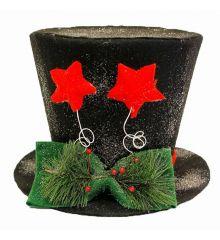 Χριστουγεννιάτικο Κρεμαστό Τσόχινο Καπέλο Χιονισμένο, Μαύρο με Κόκκινα Αστεράκια (30cm)