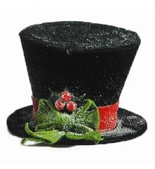 Χριστουγεννιάτικο Τσόχινο Καπέλο Χιονισμένο, Μαύρο με Πράσινο Φιόγκο και Γκι (25cm)