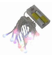 20 Πολύχρωμα Φωτάκια LED Μπαταρίας, με Μπαλίτσες (2m)