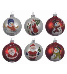Χριστουγεννιάτικη Μπάλα Γυάλινη με Φιγούρες - 6 Σχέδια (8cm)
