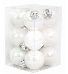 Χριστουγεννιάτικες Μπάλες Λευκές Περλέ - Σετ 12 τεμ. (3cm)