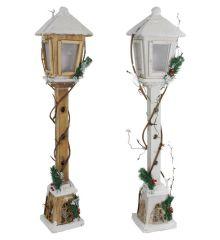 Χριστουγεννιάτικο Διακοσμητικό Ξύλινο Φανάρι με 15 LED - 2 Χρώματα (80cm)