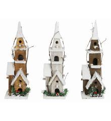 Χριστουγεννιάτικο Διακοσμητικό Ξύλινο Σπίτι με 5 LED - 3 Χρώματα (40cm)