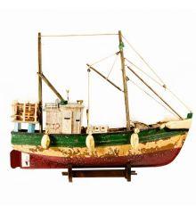 Χριστουγεννιάτικο Ξύλινο Διακοσμητικό Καράβι, Τρίχρωμο Παλαιωμένο Καΐκι (45cm)