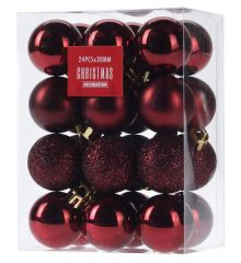 Χριστουγεννιάτικες Μπάλες Μπορντό - Σετ 24 τεμ. (3cm)