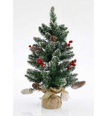 Χριστουγεννιάτικο Επιτραπέζιο Δέντρο Χιονισμένο με Κουκουνάρια και Γκι (60cm)