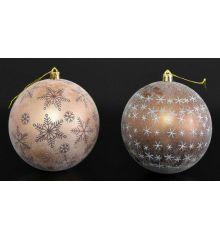 Χριστουγεννιάτικη Μπάλα Καφέ με Χιονονιφάδες - 2 Χρώματα (10cm)