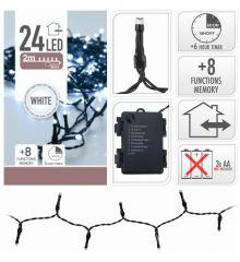 24 Λευκά Ψυχρά Φωτάκια LED Μπαταρίας Εξωτερικού Χώρου, με 8 Προγράμματα και Χρονοδιακόπτη (1,8m)