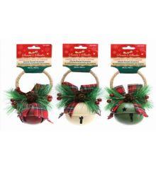 Χριστουγεννιάτικο Μεταλλικό Κουδουνάκι με Γκι και Φιόγκο - 3 Χρώματα (16cm)