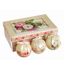 Χριστουγεννιάτικες Μπάλες με Λουλούδια σε Κουτί Δώρου - Σετ 6 τεμ. (8cm)