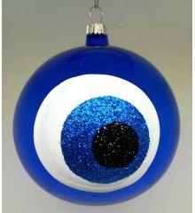 Χριστουγεννιάτικη Χειροποίητη Μπάλα Γυάλινη με Μάτι Μπλε (10cm)