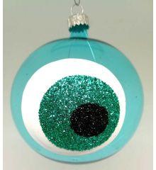 Χριστουγεννιάτικη Χειροποίητη Μπάλα Γυάλινη με Μάτι Τιρκουάζ (10cm)