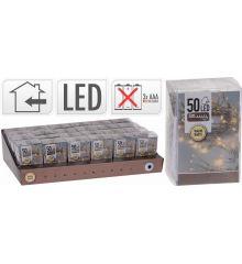 50 Λευκά Θερμά Φωτάκια LED Μπαταρίας (5m)