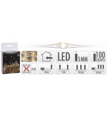 100 Λευκά Θερμά Φωτάκια LED Copper Μπαταρίας (5m)