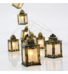 10 Λευκά Θερμά Φωτάκια LED Μπαταρίας, με Φαναράκια (1,3m)
