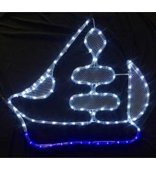 Χριστουγεννιάτικo Καράβι με 4m Δίχρωμο Φωτοσωλήνα LED (60cm)