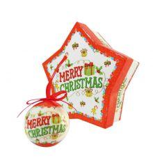 """Χριστουγεννιάτικες Μπάλες """"Merry Christmas"""" σε Κουτί Δώρου Αστέρι - Σετ 6 τεμ. (4.5cm)"""