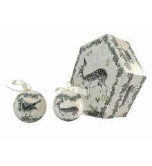 Χριστουγεννιάτικες Μπάλες με Ζωάκια σε Κουτί Δώρου - Σετ 6 τεμ. (8cm)