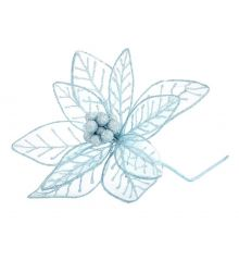 Χριστουγεννιάτικο Διακοσμητικό Λουλούδι Γαλάζιο, Υφασμάτινο
