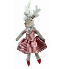 Χριστουγεννιάτικο Λούτρινο Κρεμαστό Ελάφι, με Ριγέ Φόρεμα (23cm)