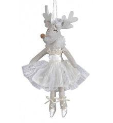 Χριστουγεννιάτικο Λούτρινο Κρεμαστό Ελάφι, Μπαλαρίνα (23cm) - 1 Τεμάχιο