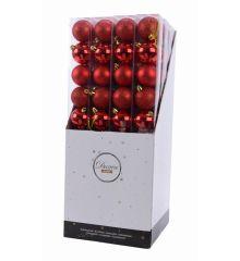 Χριστουγεννιάτικες Μπάλες Γυάλινες Κόκκινες - Σετ 10 τεμ. (6cm)