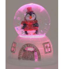 Χριστουγεννιάτικη Χιονόμπαλα Λευκή με Πιγκουίνο και LED (6.5cm)
