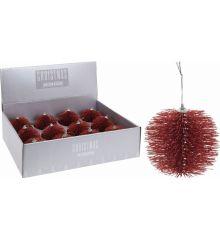 Χριστουγεννιάτικη Μπάλα Κόκκινη με Πευκοβελόνες (10cm)