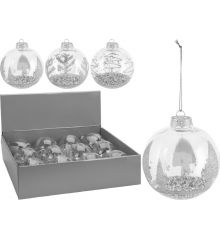 Χριστουγεννιάτικη Μπάλα Ασημί με Δεντράκια - 3 Σχέδια (8cm)