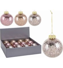 Χριστουγεννιάτικη Μπάλα Διάφανη με Κομφετί - 3 Χρώματα (8cm)