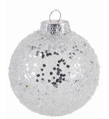 Χριστουγεννιάτικη Μπάλα Λευκή με Στρας (8cm)