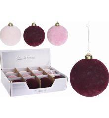 Χριστουγεννιάτικη Μπάλα Velvet - 3 Χρώματα (8cm)