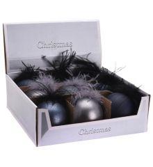 Χριστουγεννιάτικη Μπάλα με Πούπουλα - 4 Χρώματα (8cm)