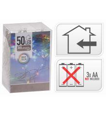 50 Πολύχρωμα Φωτάκια LED Μπαταρίας (5m)