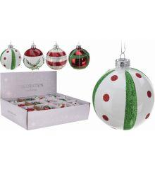Χριστουγεννιάτικη Μπάλα Γυάλινη Πολύχρωμη - 4 Σχέδια (8cm)