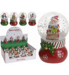 Χριστουγεννιάτικη Χιονόμπαλα Λευκή με Φιγούρα - 4 Σχέδια (7cm)