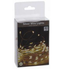 80 Λευκά Θερμά Φωτάκια LED Copper Μπαταρίας (4m)