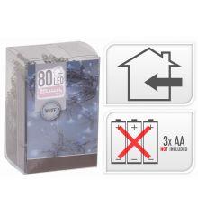 80 Λευκά Ψυχρά Φωτάκια LED Μπαταρίας (8m)