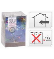 80 Πολύχρωμα Φωτάκια LED Μπαταρίας (8m)