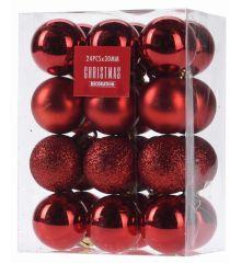 Χριστουγεννιάτικες Μπάλες Κόκκινες - Σετ 24 τεμ. (3cm)